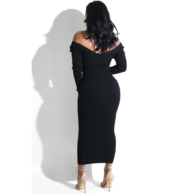 Sibybo Winter Ribbed Knitted Cotton Dress Women Off Shoulder Long Sleeve Sexy Bodycon Dresses Elastic Slim Party Vestidos 2020 5