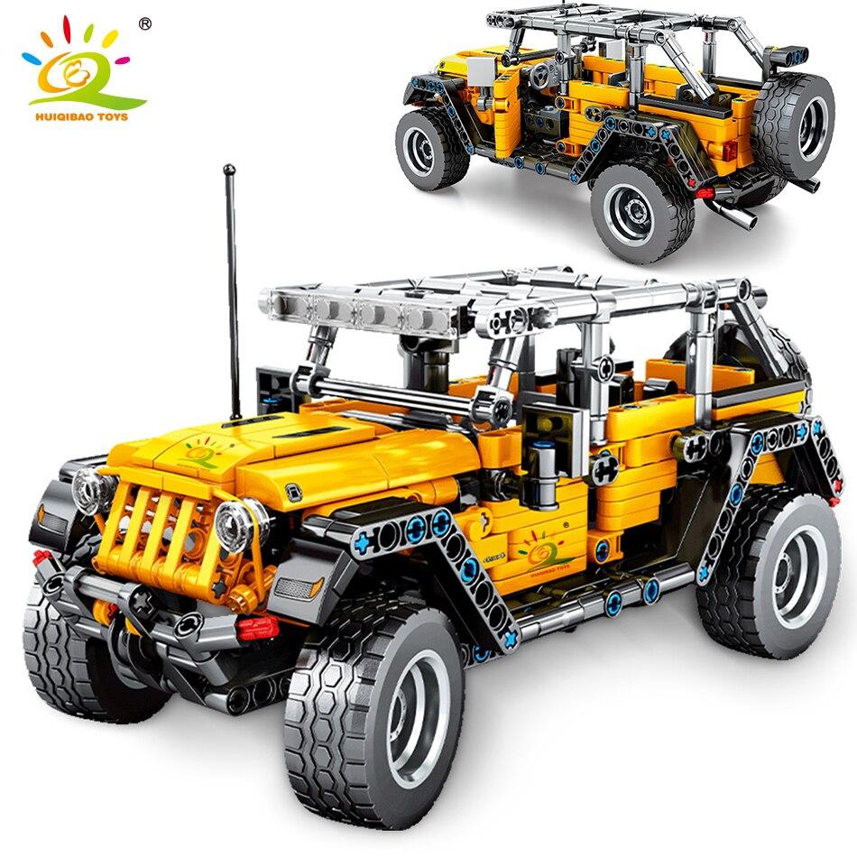 Huiqibao 601 pces fora-estrada veículo bloco de construção puxar para trás tijolos de carro técnico moc criativo mecânico cidade crianças brinquedo para o menino