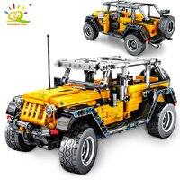HUIQIBAO 601pcs Veículo Off-road Cidade Blocos de Construção Tijolos Criador da Técnica Mecânica Puxar Para Trás Do Carro Brinquedos das crianças Para presente do menino