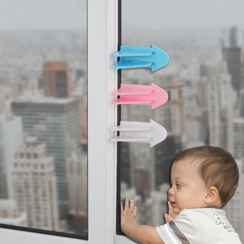 Children Safety High Quality Child Lock Child Safe Locks Easy Kids Baby Safety Security Sliding Window Locks For Push-pull Door