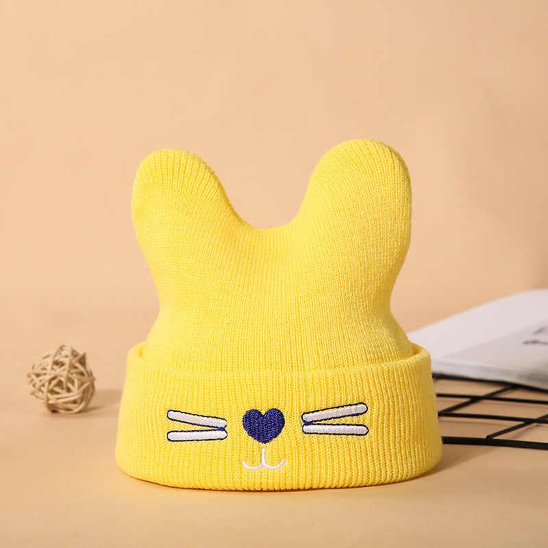 น่ารักการ์ตูน Big Bow หมวกเด็กหมวกเด็กถักผ้าฝ้าย Beanie ฤดูใบไม้ร่วงฤดูหนาวหญิงอบอุ่น Drop Shipping