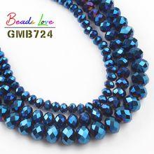 Hurtownie Faceted niebieski Austria szkło kryształowe koraliki 4 6 8 10 12 MM luźne koraliki modułowe bransoletka Zrób To Sam naszyjnik do tworzenia biżuterii