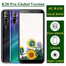 Teléfono K20 Pro versión Global, 4GB RAM, 64GB ROM, MTK6580, Quad Core, desbloqueo facial, pantalla HD de 6,0 pulgadas, cámara de 5MP + 13MP