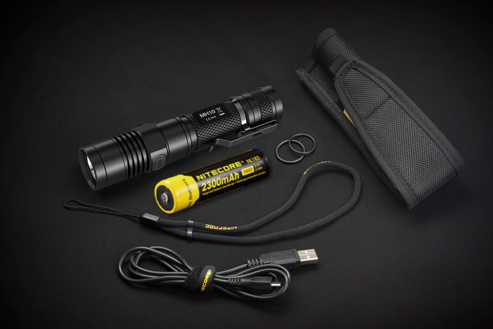 SALE! NITECORE MH10 1000 Lumens U2 LED Outdoor Rechargeable Portable Flashlight USB Charge Cable + 1x18650 Battery Free Shipping