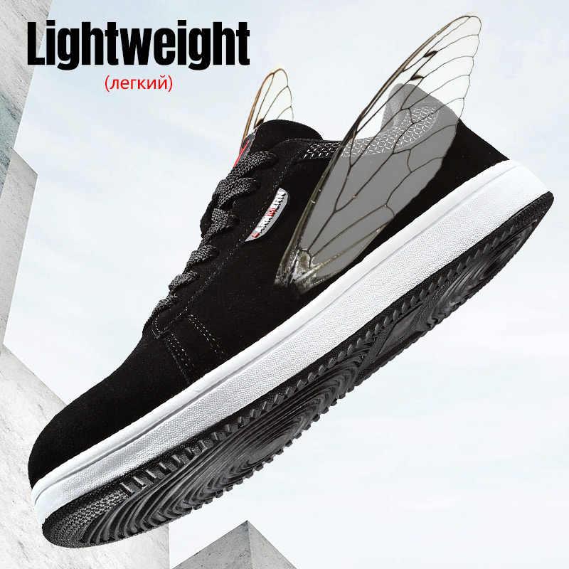 LARNMERN erkek iş güvenliği ayakkabıları çelik burunlu inşaat Sneaker hafif nefes rahat süet iş çizmeleri