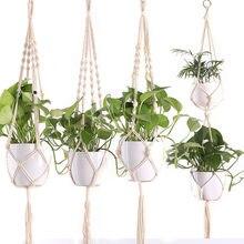 1pc cestas de suspensão vaso de flores planta titular pote macrame planta cabide pendurado plantador cesta juta corda trançado artesanato decoração do vintage