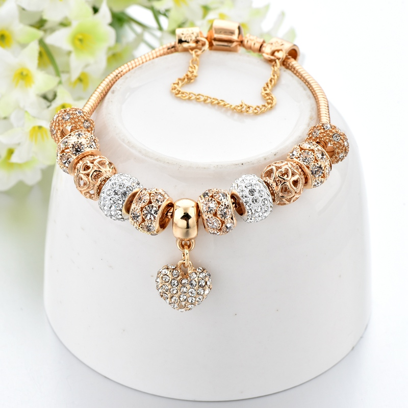 H2280baba249f44ec8023ca745044f96aj Exquisite Crystal Gold Heart Charm Bracelets With Bangles