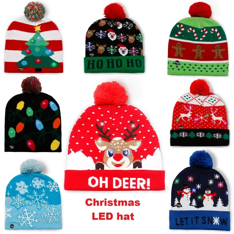 Kids Adults LED Light Christmas Santa Beanie Hat Knitted Multi Colour XMAS Gifts