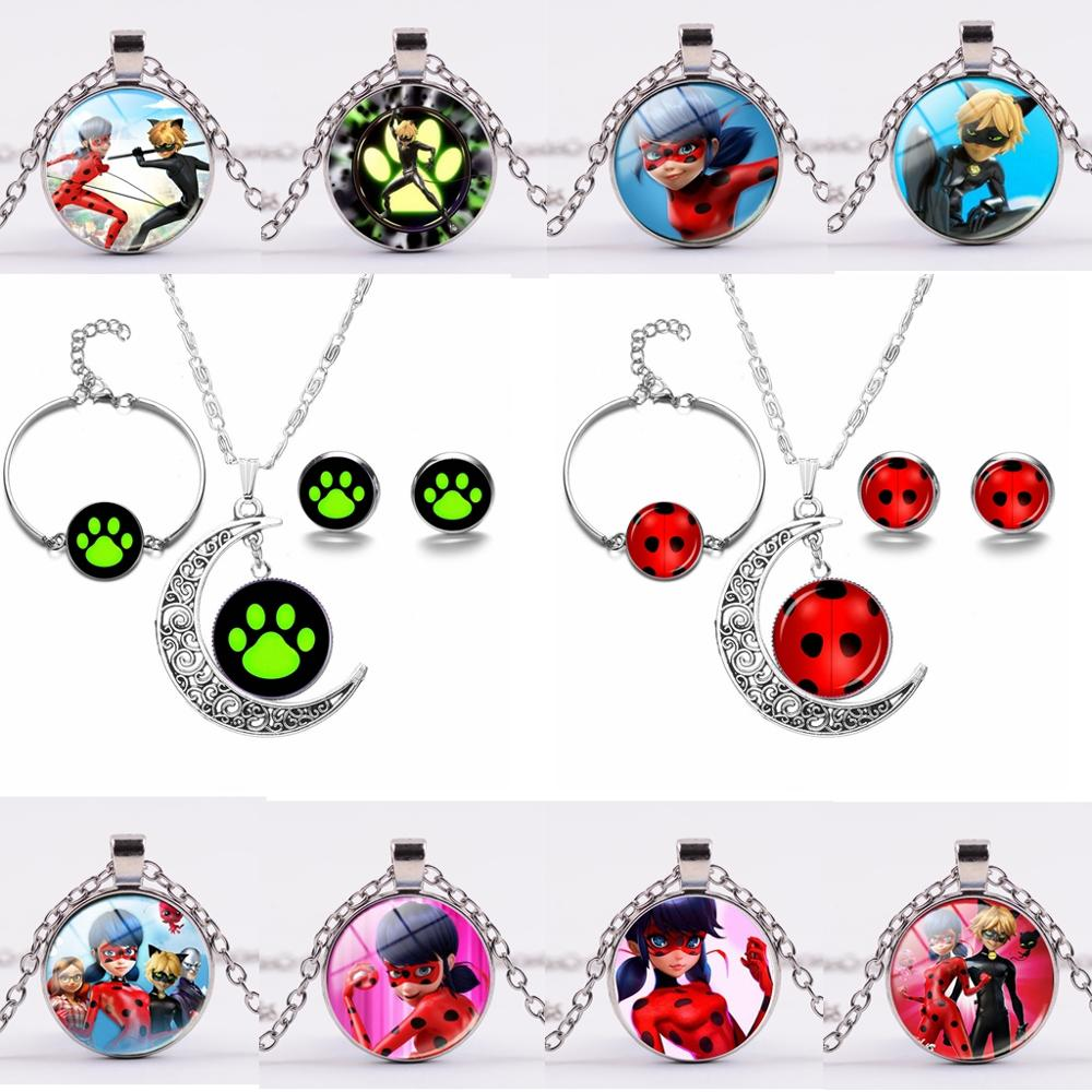 Lady Bug 7 Star Ladybug Lady Bug Time Gem Moon Necklace Set Earring Bracelet Toys