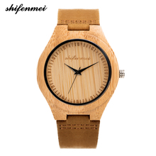 Shifenmei Watches Women Fashion Watch 2019 Bamboo Wood Clock Men Women Sport Quartz Wristwatch Analog Genuine Leather Gifts 2140