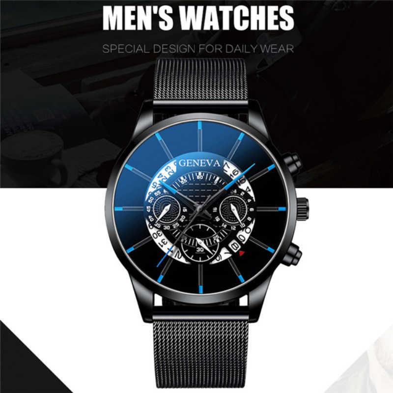 Relogio Masculino אופנה גברים של שעון ספורט גברים שעונים יוקרה לוח שנה רשת פלדה בנד שעוני יד ז 'נבה שעון Reloj Hombre
