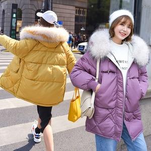 Image 5 - Ciepła kurtka zimowa damska 2020 moda futro z kapturem kołnierz puchowy płaszcz bawełniany kobiety koreański jednokolorowy luźny duży rozmiar damski płaszcz
