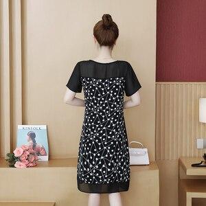 Image 5 - 48 100kg może nosić nowa moda Muyoms pełna miarka długość do kolan nieformalny bawełna kwiatowy długi rękaw szyfon Plus rozmiar sukienki koktajlowe koktajl sukienki na imprezę