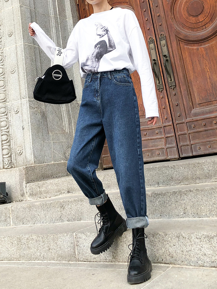 Dad Pants Loose-Fit Jeans Women's Spring And Autumn 2019 New Style Korean-style Slimming Students Straight-Cut High-waisted Hare