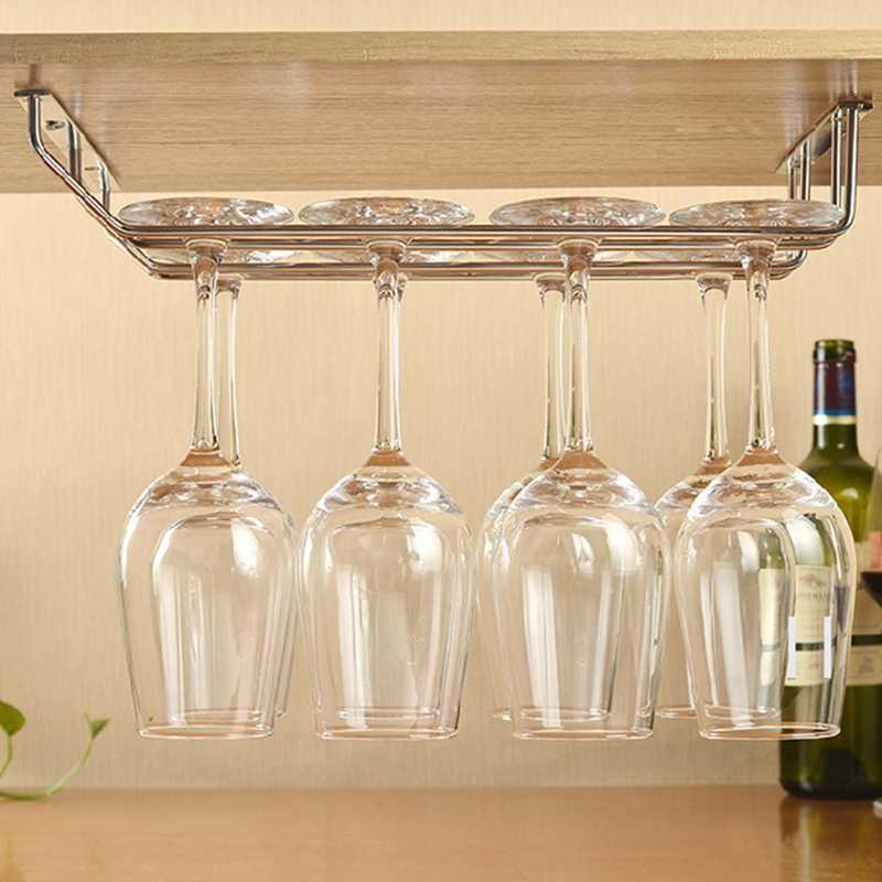 1PC Stainless Steel Cangkir Anggur Piala Anggur Kaca Rak Wine Menggantung Pemegang Rak Cangkir Baris Ganda