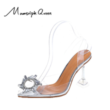 Shoes Woman Star style sandals Elegant Rhinestones High heels Wedding Shoes Crystal Clear heeled  Pumps Sandals туфли женские clear panel two part heeled sandals