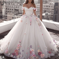 Gorgeous 3D Flowers Ball Gown Wedding Dresses Off the shoulder Colorful Floral Garden Bride Dress Beach Boho Wedding Bridal Gown