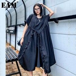 Женское платье с оборками EAM, черное Свободное платье с круглым вырезом и коротким рукавом, весна-лето 2020, 1X687