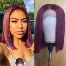 Короткие волосы Red Bob, человеческие волосы, кружевные парики бордового цвета 99J, перуанские парики 13x1 на сетке, парики без повреждений, Детски...