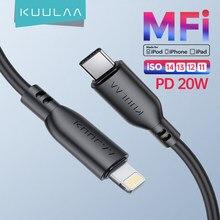 KUULAA – câble USB MFi PD 20W, charge rapide, transfert de données, compatible avec iPhone 12 11 Pro Max X XS 8 7 Macbook Pro