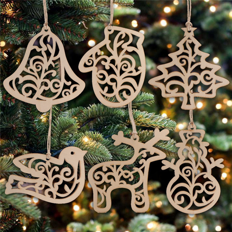 6Pcs//set Snowflake Pendant Hanging Hollow Ornament For New Year Xmas Party Decor