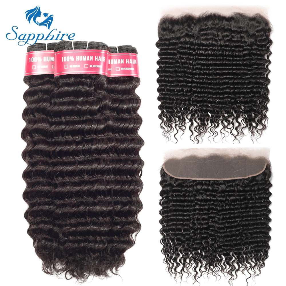 Sapphire Hair Deep Wave Bundles With Frontal Remy Hair Bundles With Closure Brazilian Hair Weave 3 Bundles With 13x4 Closure