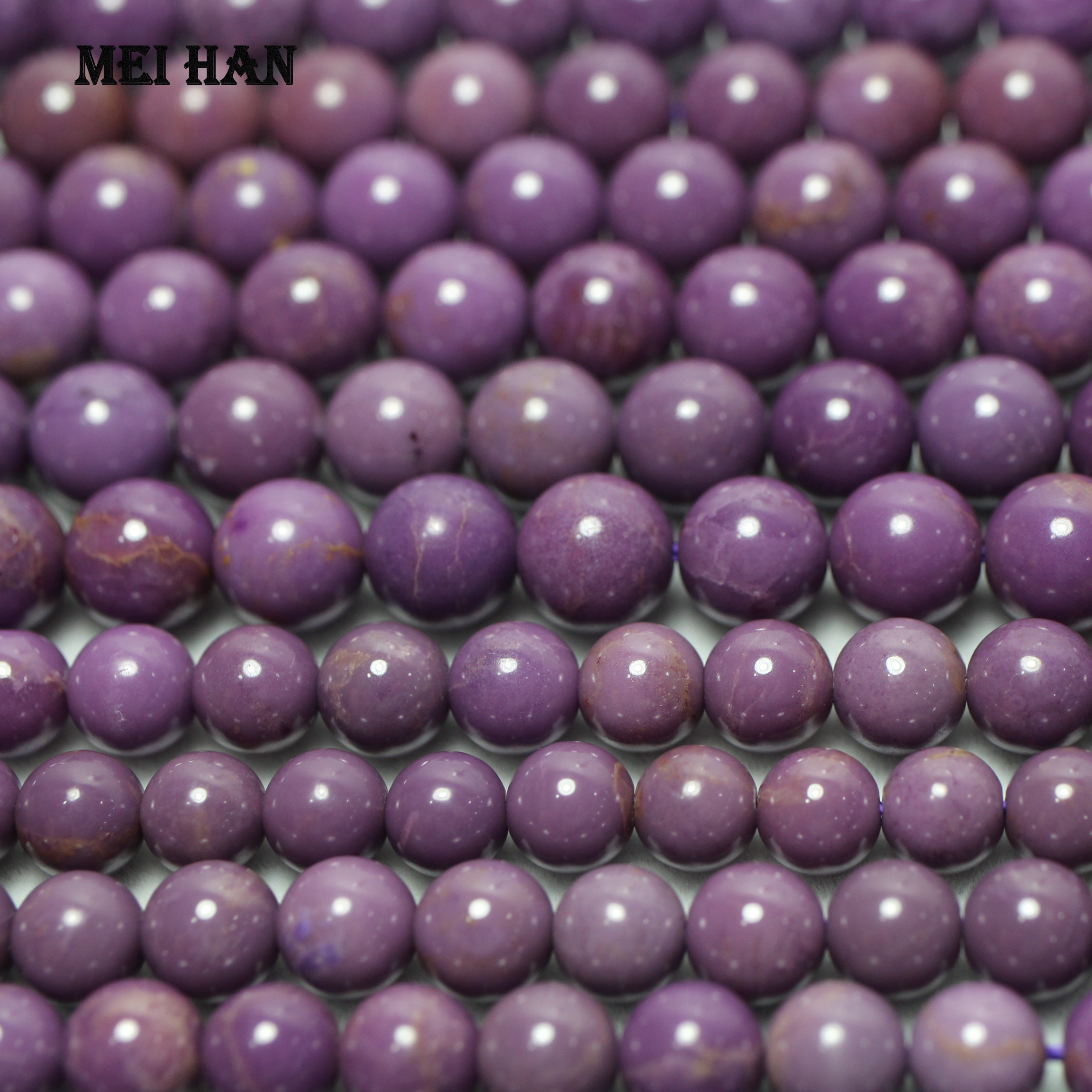 Image 2 - Wholesale natural 11.5 12.5mm Morocco phosphosiderite purple smooth round loose beads stone for gift  jewelry making bracelet-in Beads from Jewelry & Accessories