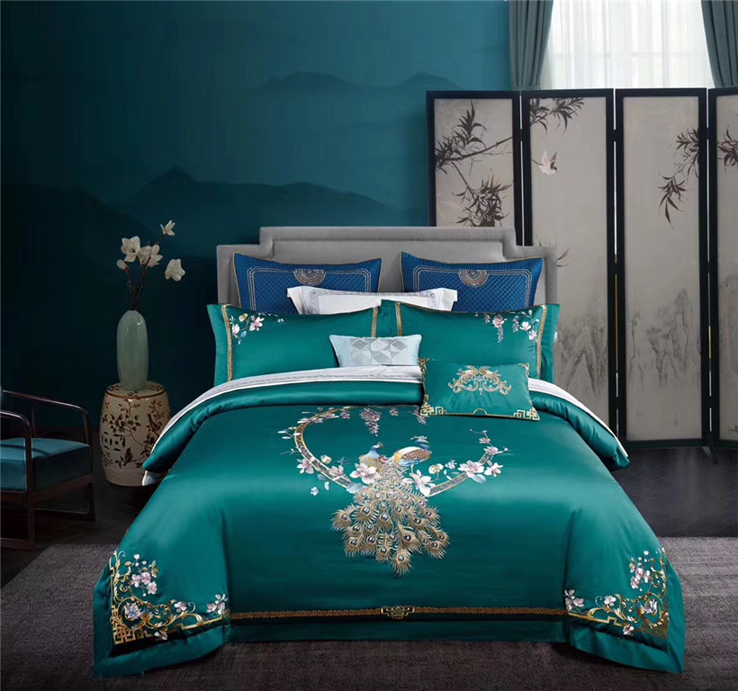 Queen King Size 4Pcs Egyptian Cotton Bedding Set Bed Sheets Chinoiserie Chic Peacock Flowers Embroidery Duvet Cover Pillowcase
