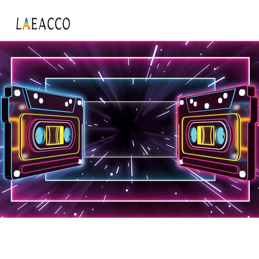 Laeacco Music Backdrop For Photography Musical Tape Welcome To 80's Party Pattern Photographic Background Photocall Photo Studio image
