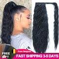 Длинные волнистые волосы LISI, накладные волосы на заколке для конского хвоста, термостойкие синтетические натуральные волнистые волосы с ко...