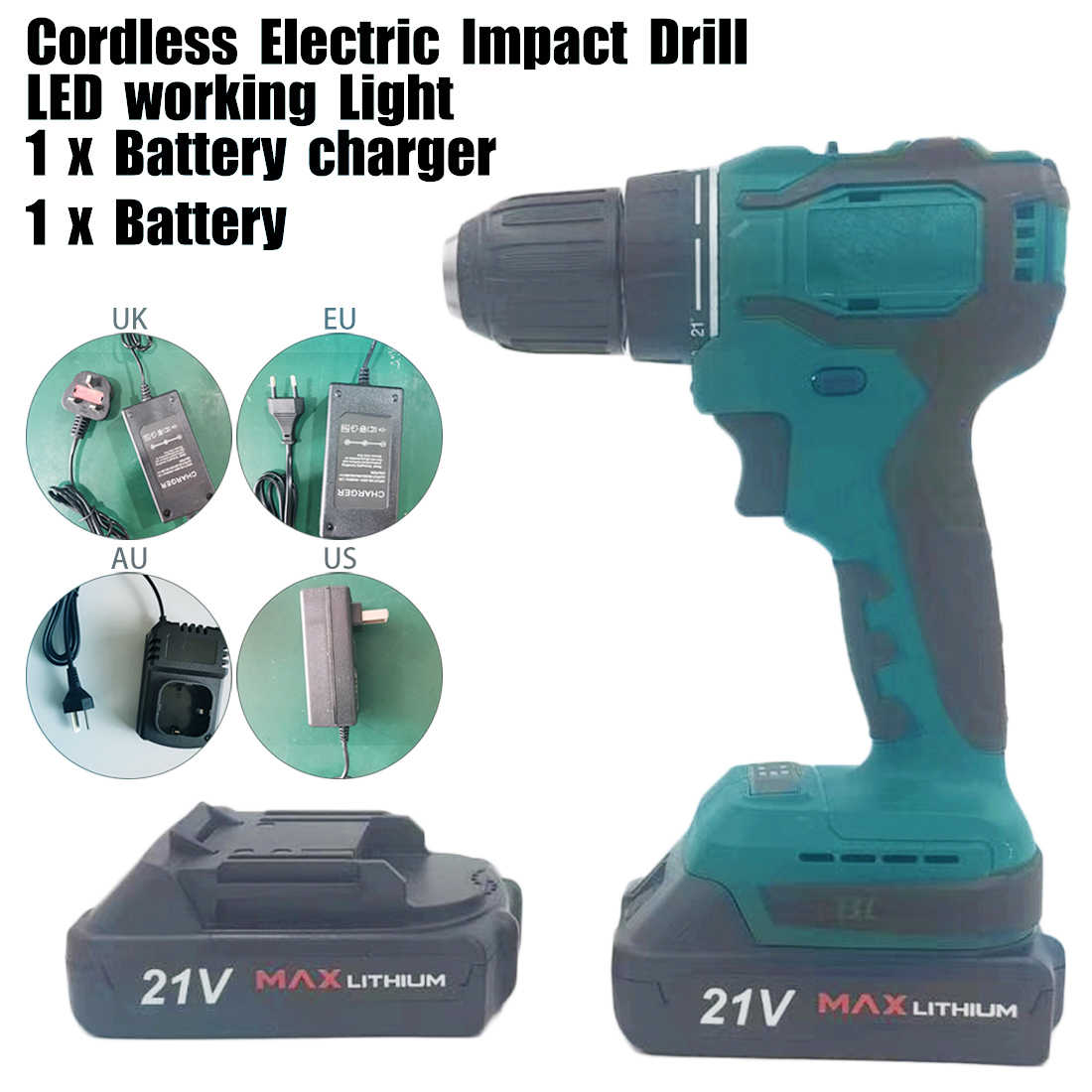 18V Cordless Impact Wrench Li-Ion Battery Screwdriver and Charger Kit with Built-in LED Working Light UK Plug 100-240V Impact Wrench