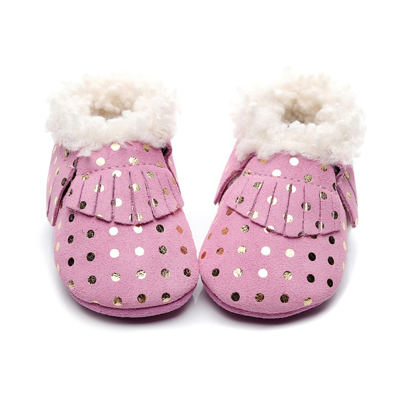 New Winter Baby Girls First Walkers Toddler Polk Dot Tassels Cotton Solid Shoes Soft Warm Infant Shoes