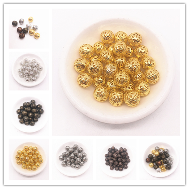 4/6/8/10mm Hollow Ball Flower Beads Metal Charms Dull Silver Bronze Gold Silver Plated Filigree Spacer Beads Diy Jewelry Making