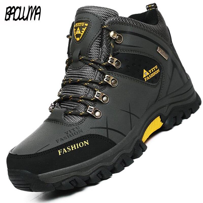Marque hommes hiver bottes de neige chaud Super hommes de haute qualité étanche en cuir baskets en plein air mâle randonnée bottes chaussures de travail 39-47