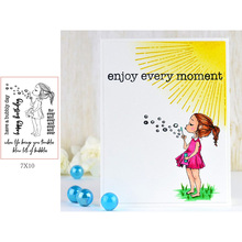 Lovely Blowing Bubbles Little Girl Some Sentences and Words Transparent Clear Stamps for DIY Scrapbooking Cards Crafts 2019 New