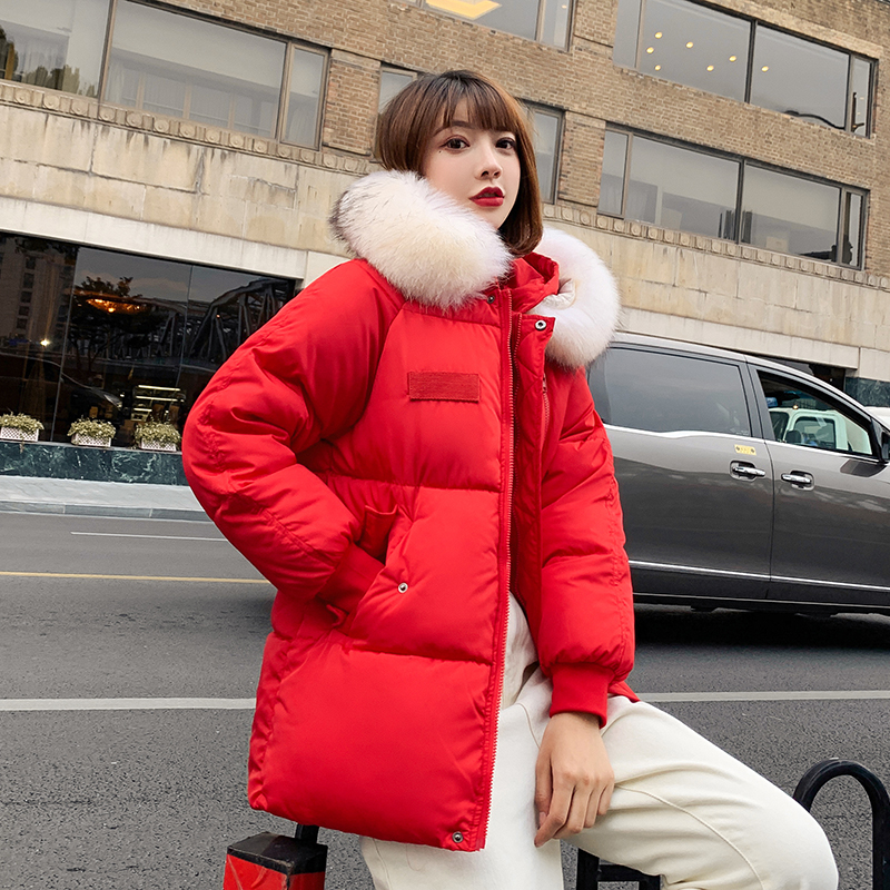 2019 new Casual Warm Fashion Woman Short Winter Coats and Jackets Pockets Hooded   Parka   Feminina Solid Loose Woman Coats