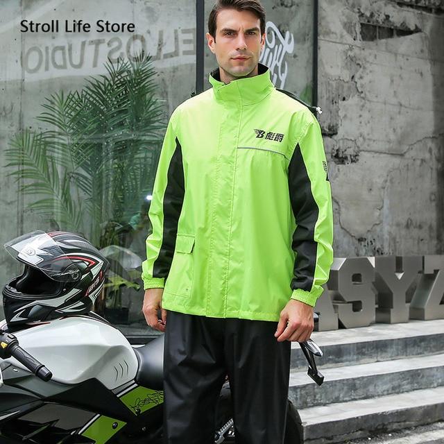 Green Motorcycle Rain Coat Pants Set Waterproof Raincoat Ultra-Thin Men's Rain Poncho Adult Mens Sports Suits Impermeable Gift 4