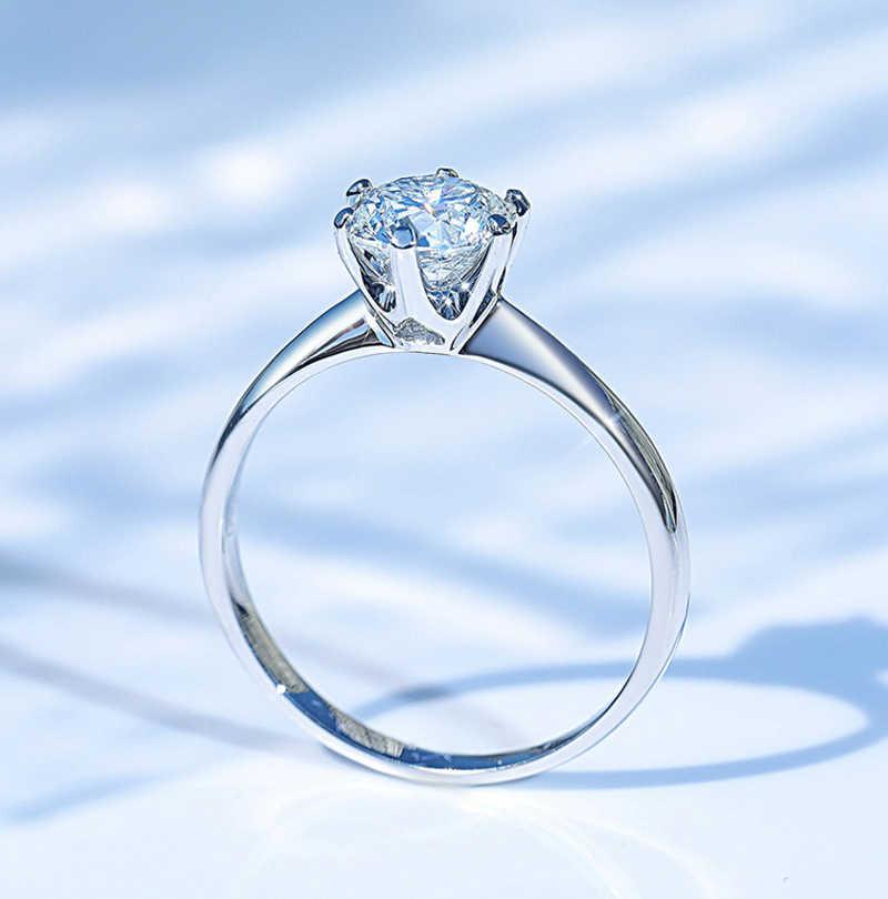 Freies Geschickt Zertifikat 1 Karat 18K Gold Ring Klassische Stil Geschenk Schmuck Zirkonia Ring Hochzeit Party Jahrestag Ringe Für frauen