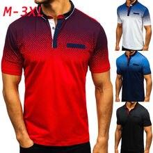 Мужские градиентные теннисные рубашки для гольфа мужские рубашки с отложным воротником размера плюс 3XL хлопковые футболки с коротким рукавом