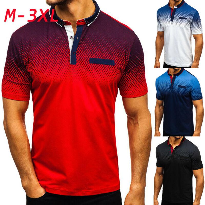 Mens Gradient Golf Tennis Shirt 2019 Mens Turn-Down Collar Shirts Plus Size 3XL Cotton Short Sleeve Tee Tops