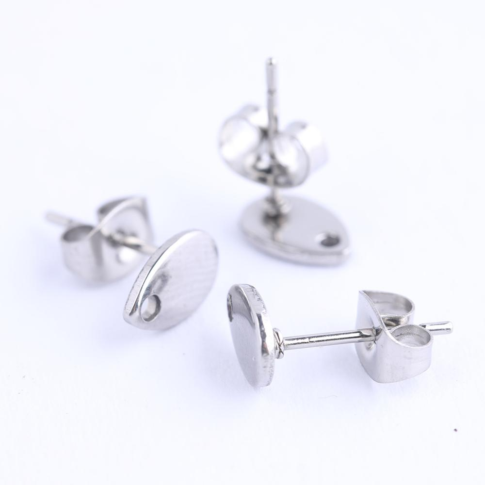 Onwear 20pcs Stainless Steel Stud Earring Posts With Holes Diy Connectors For Earrings Jewelry Making