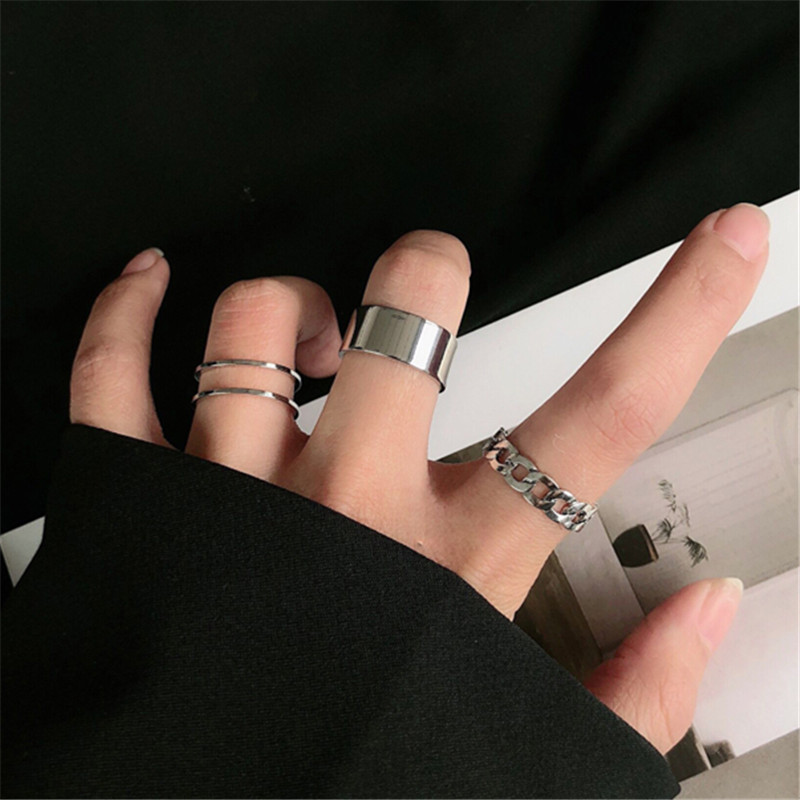 Hiphop/Rock Metal Geometry Circular Punk Ring Opening index finger Accessories buckle joint tail Ring for women