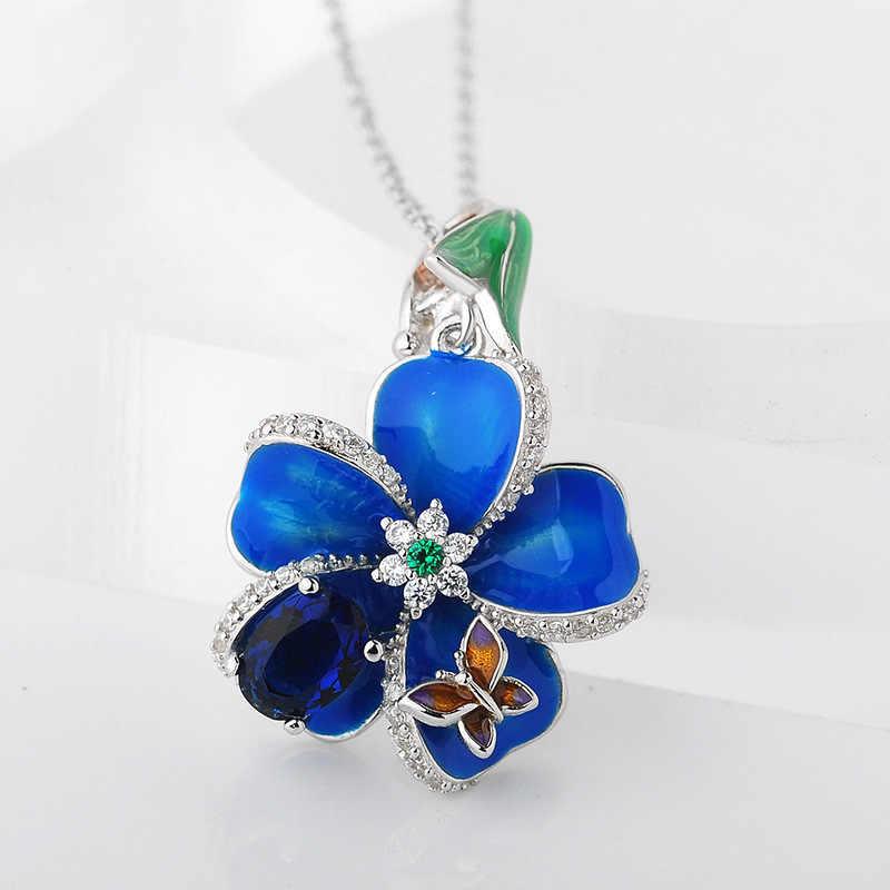 925 Silver Cloisonne สีฟ้าพลัมดอกไม้ดอกไม้แขวนสร้อยคอต่างหูชุดเครื่องประดับ