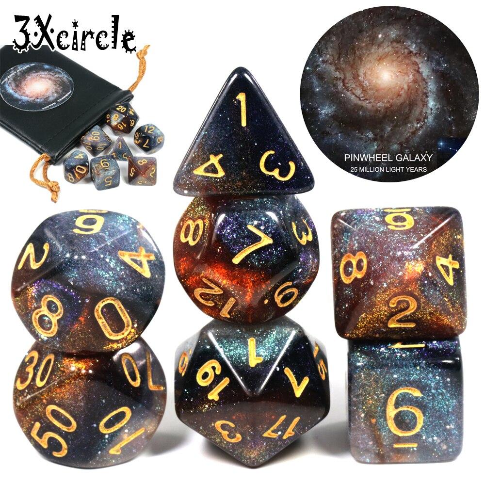 Universo romântico galaxy dice 7 peças/set + saco de couro do plutônio 7 pces dnd rpg jogos pré-venda cubos estrelados presente de natal