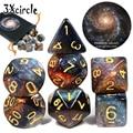 Романтическая Вселенная галактические игральные кости 7 шт./компл. + сумка из искусственной кожи 7 шт. игры Игры игры Звездные кубики Рождест...