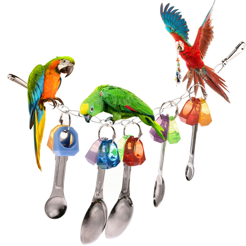 2019 Colorful Parrot Toys Suspension Hanging Sneakers Metal Spoon font b Pet b font Bird Parrot
