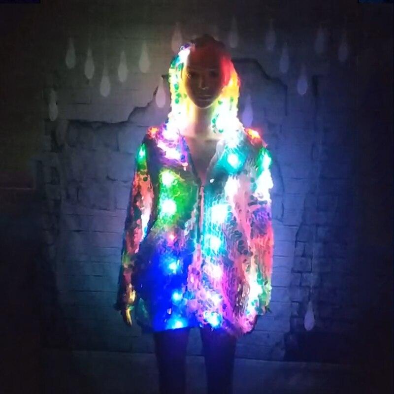 Светодиодный сценический женский пальто с блестками светодиодный светящийся одежда Casaco Feminino шоу для танцор певец Звезда одежда для ночных ...