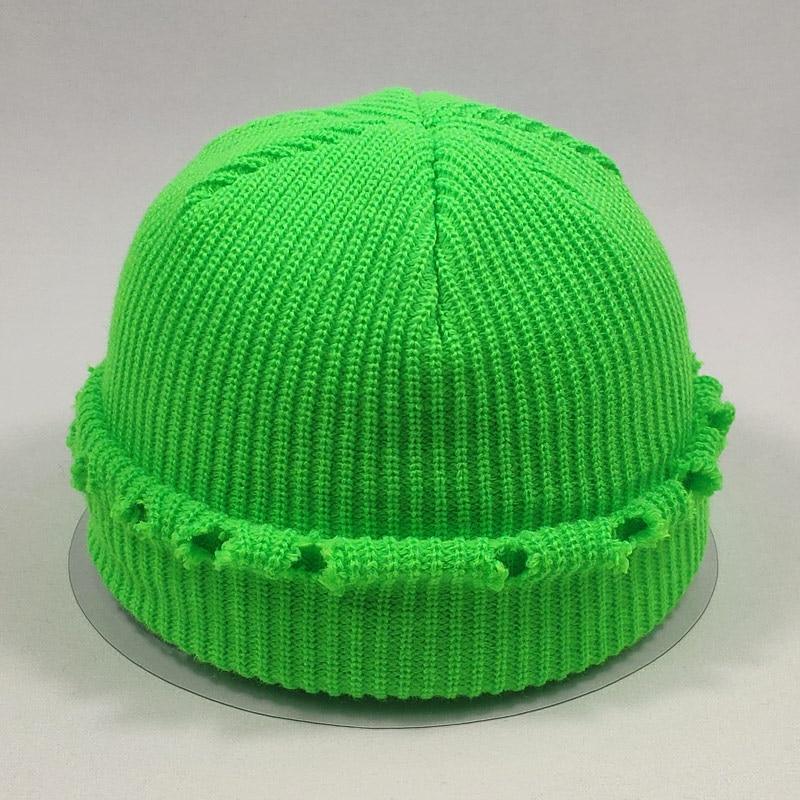 Men Women Short Shabby Cuff Beanie Holes Plain Knit Cap Double Layer Warm Winter Hats Neon Yellow Neon Green Black Blue Pink