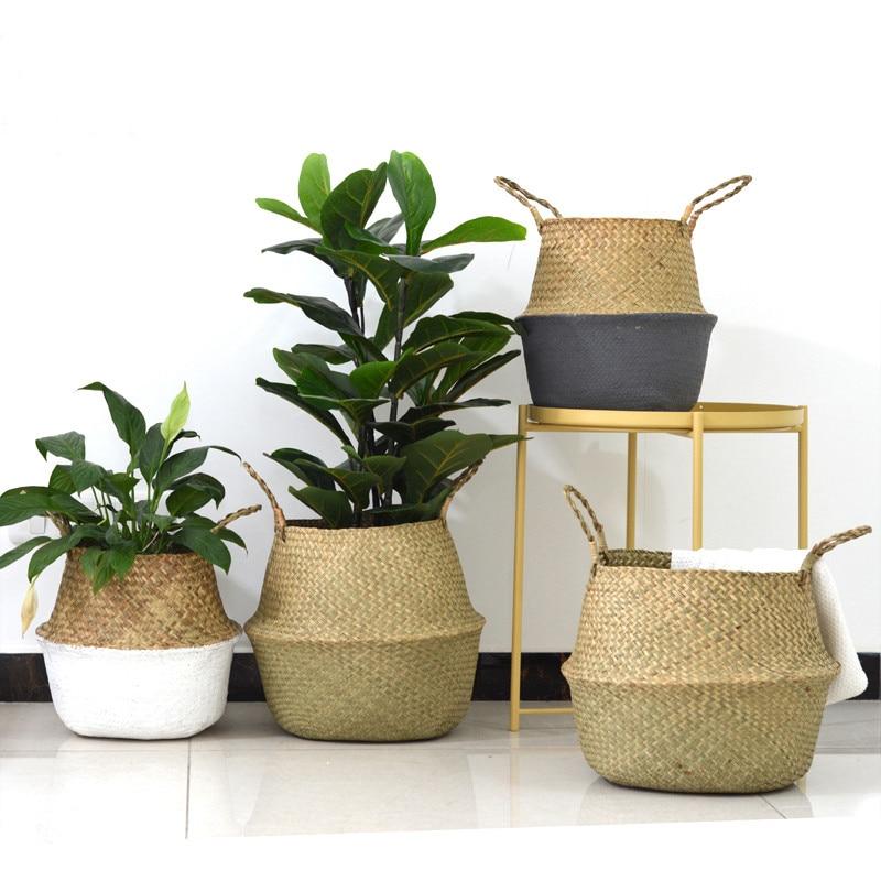 WCIC Handmade Storage Basket Rattan Straw Basket Wicker Folding Flower Pot Seagrasss Flower Baskets Garden Planter pot de fleur