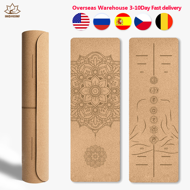 6ft Yoga Mat Natural Cork TPE Fitness Mats With Position Line Pilates Meditation Exercise For Dropshipping Overseas Warehouse 1